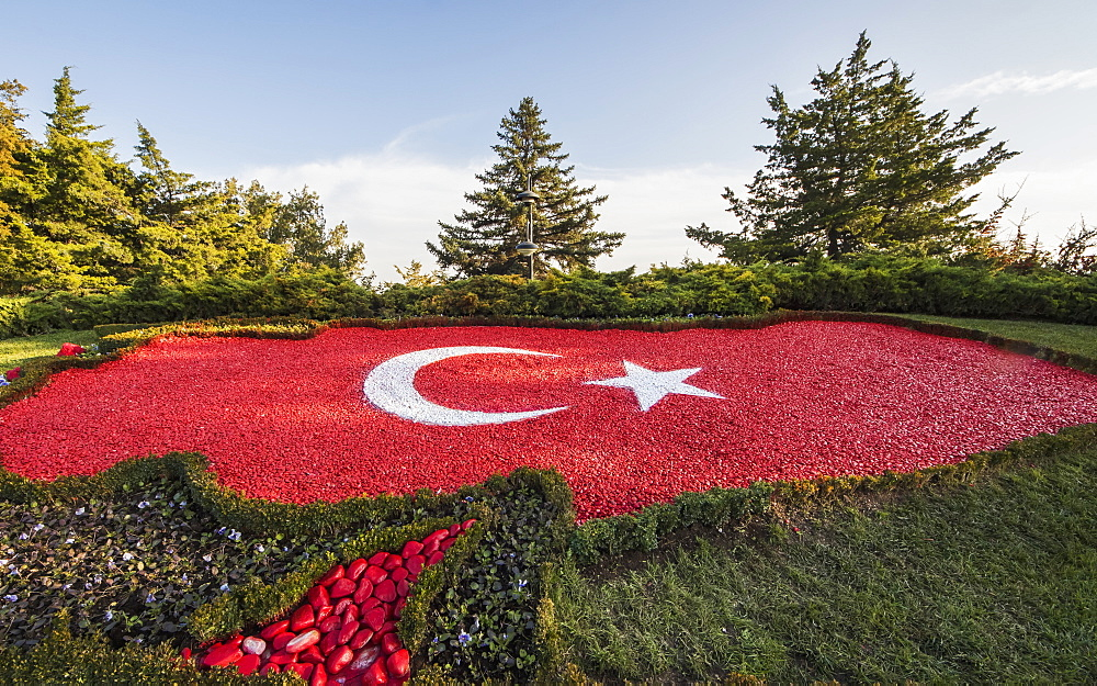 Turkish Flag Made Out Of Stones At Anitkabir, The Mausoleum Of Mustafa Kemal Ataturk, Ankara, Turkey