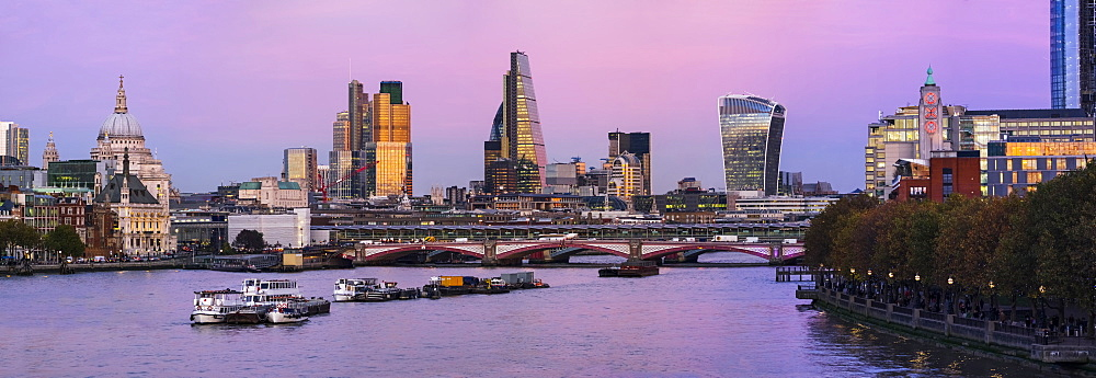 Panorama Of The City Of London With A View Of St. Paul's Cathedral At Dusk, London, England