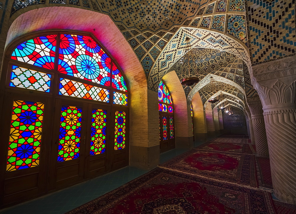 Interior With Stained Glass Windows Of The Nasir Ol Molk Mosque, Shiraz, Fars Province, Iran