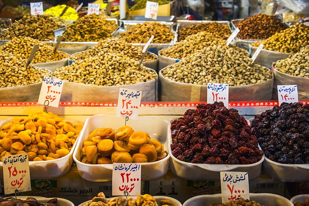 Dried Fruits And Nuts For Sale At The Tabriz Historic Bazaar, Tabriz, Iran