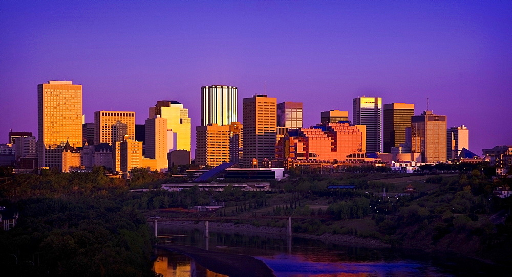 Edmonton, Alberta, Canada; City At Twilight