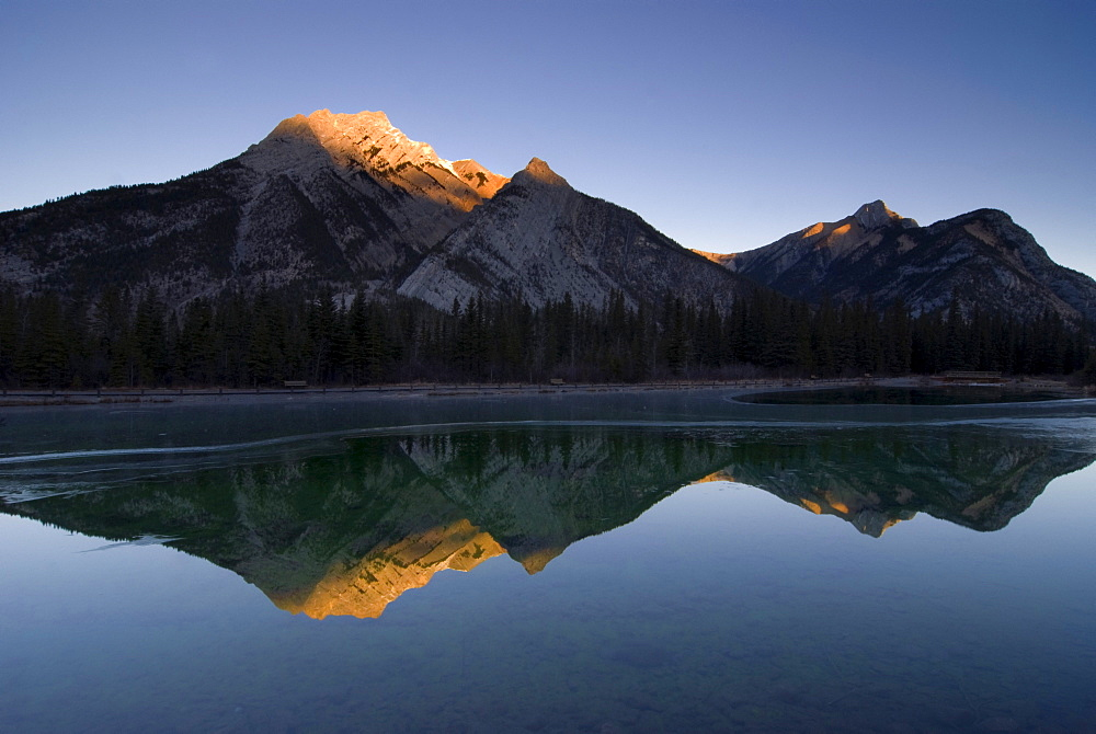 Mirror Image Of A Mountain In Water, Mount Lorette, Kananaskis, Alberta, Canada