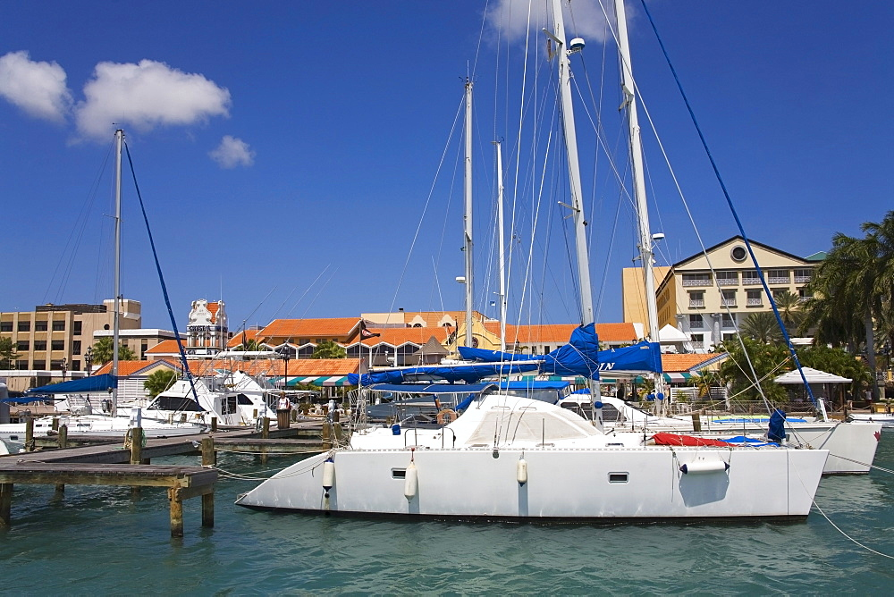 Oranjestad City, Aruba, Caribbean; Yacht In Harbor