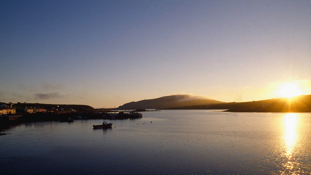 Sunset Over Valentia Island And Portmagee Harbour;  Co Kerry, Ireland