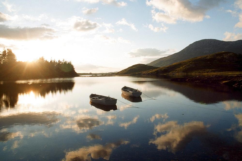 Boats On Ballynahinch Lake; Ballynahinch, County Galway, Ireland