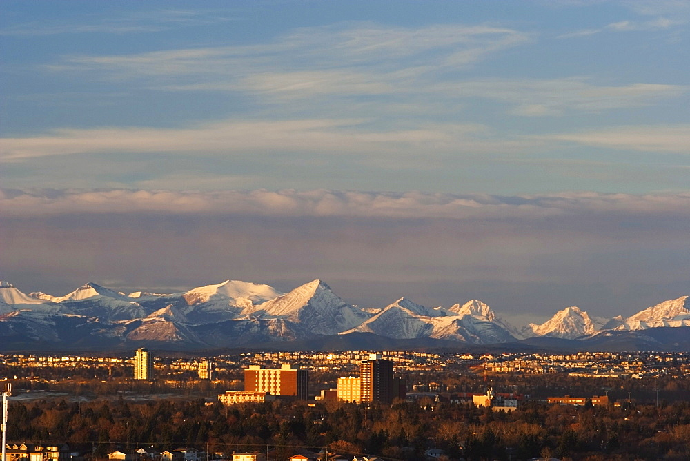 City Skyline With Mountain Backdrop, Calgary, Alberta, Canada