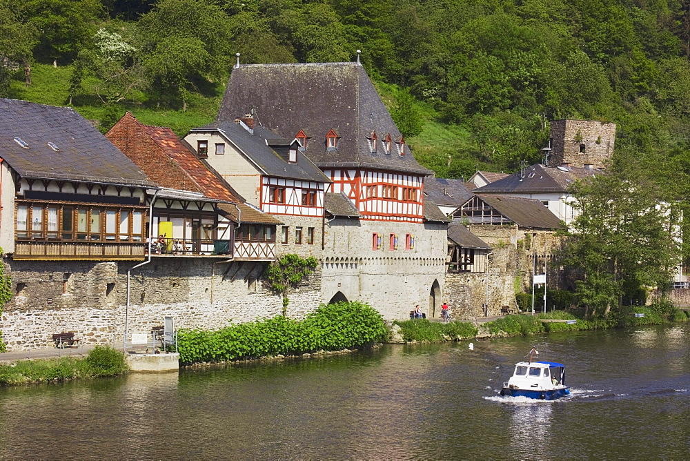 Dausenau, Rheinland-Pfalz, Germany; Buildings Along River Lahn