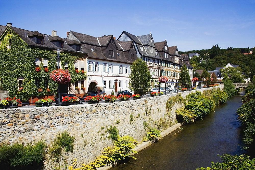 Dietz, Rheiland-Pfalz, Germany; Houses Along The River Lahn