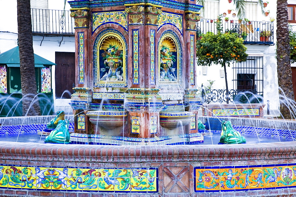Vejer De La Frontera, Andalusia, Spain; A Water Fountain With Colorful Tile