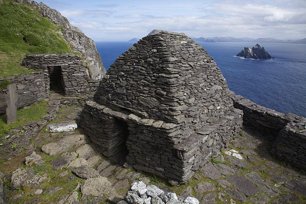 View Of Skellig Beag Behind 'beehive' Monk Huts (Clochans); Skellig Michael, County Kerry, Ireland