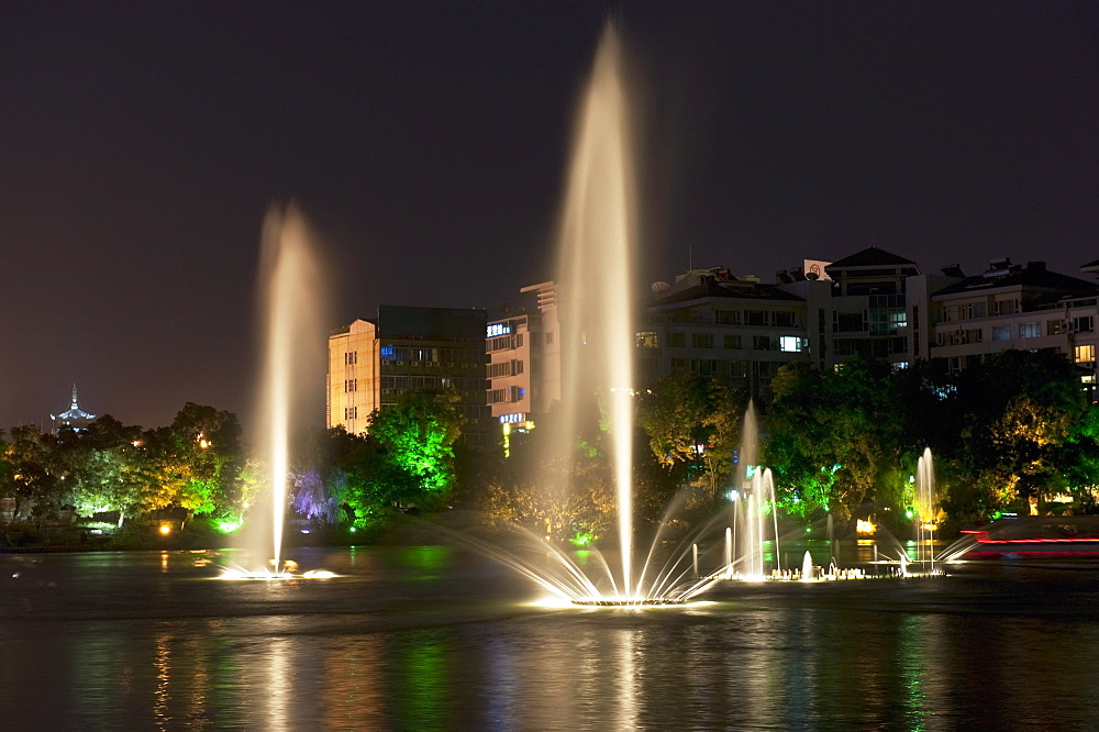 Guilin Lights At Night With Dancing Fountains; Guilin, Guangxi, China