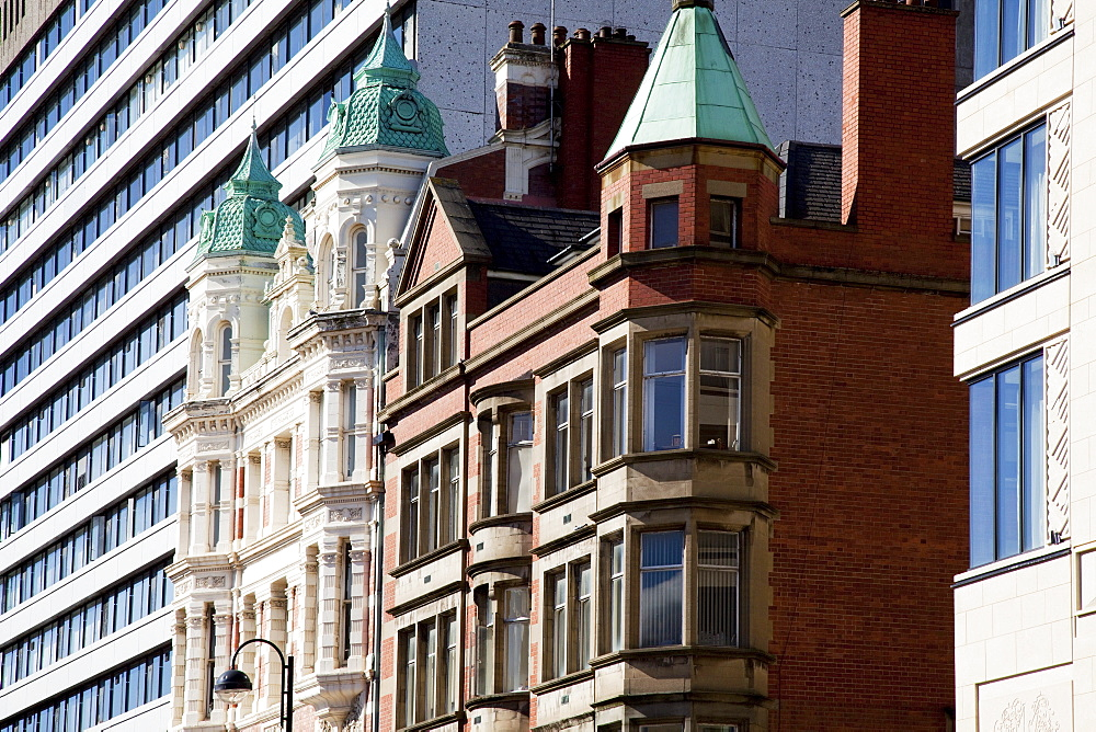 Contrasting Modern And Older Buildings; Belfast, County Antrim, Northern Ireland