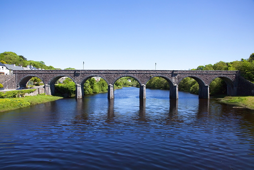 St. Julian'S Railway Bridge Over River Usk; Newport, County Mayo, Ireland