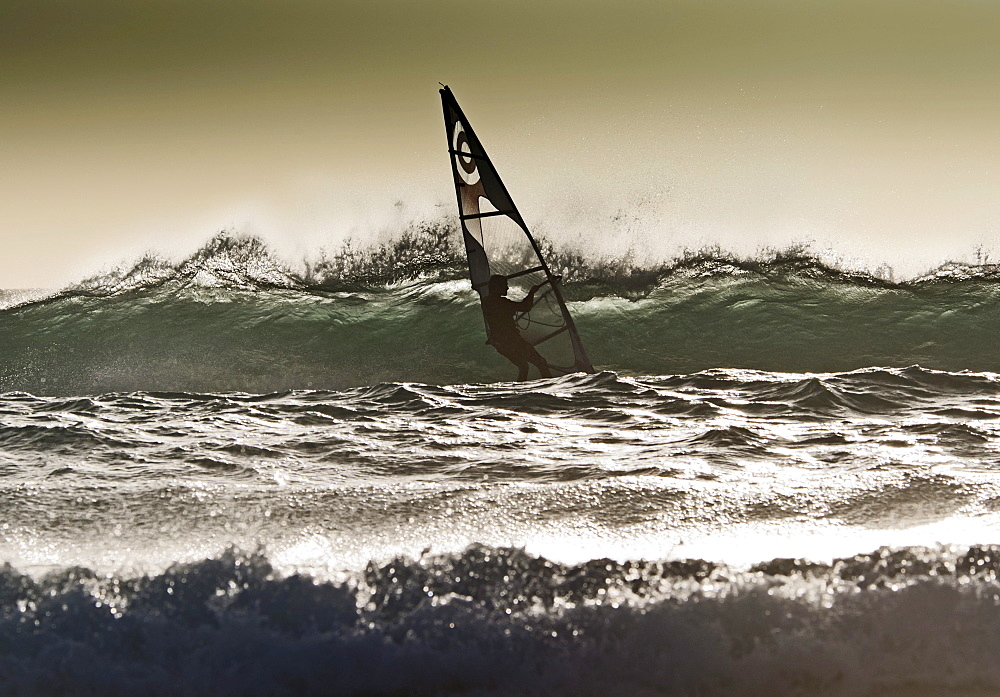 Windsurfing; Los Lances Beach, Tarifa, Cadiz, Andalucia, Spain