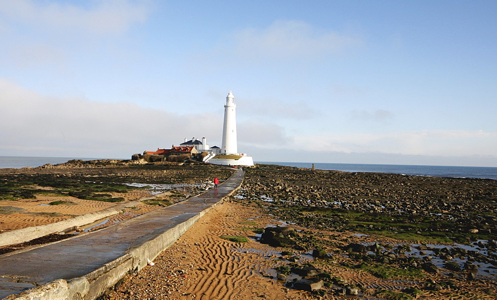 Road To St. Mary's Lighthouse; Whitley Bay, Tyne And Wear, England