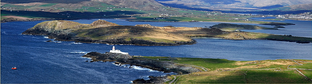 Valentia Island, County Kerry, Ireland, Lighthouse And Cahirciveen In The Distance