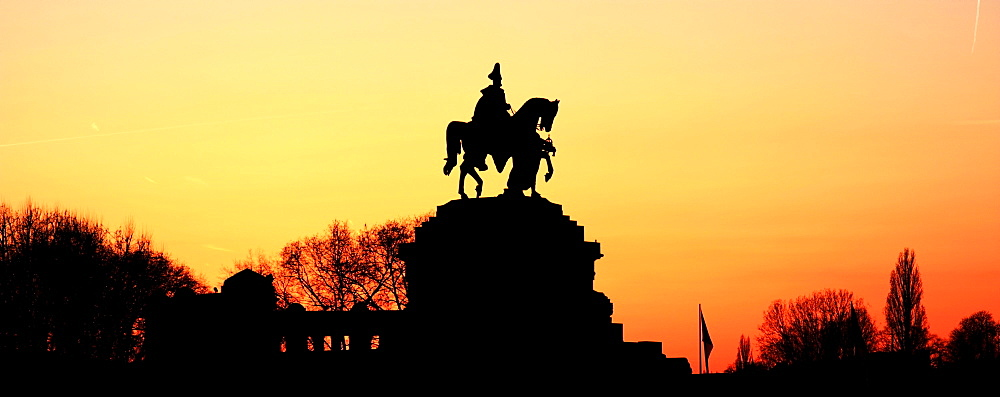 Silhouette Of Monument To Kaiser Wilhelm, Koblenz, Rheinland-Pfalz, Germany