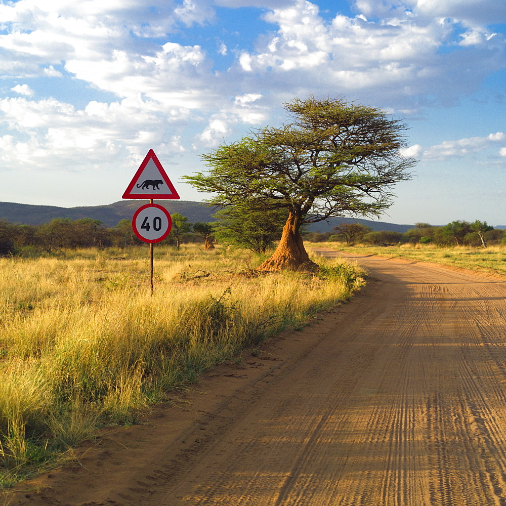 Sign On The Side Of A Dirt Road, Namibia, Africa