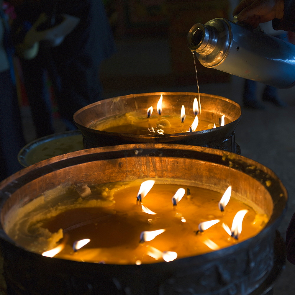 Candles burning in drepung monastery, Lhasa xizang china