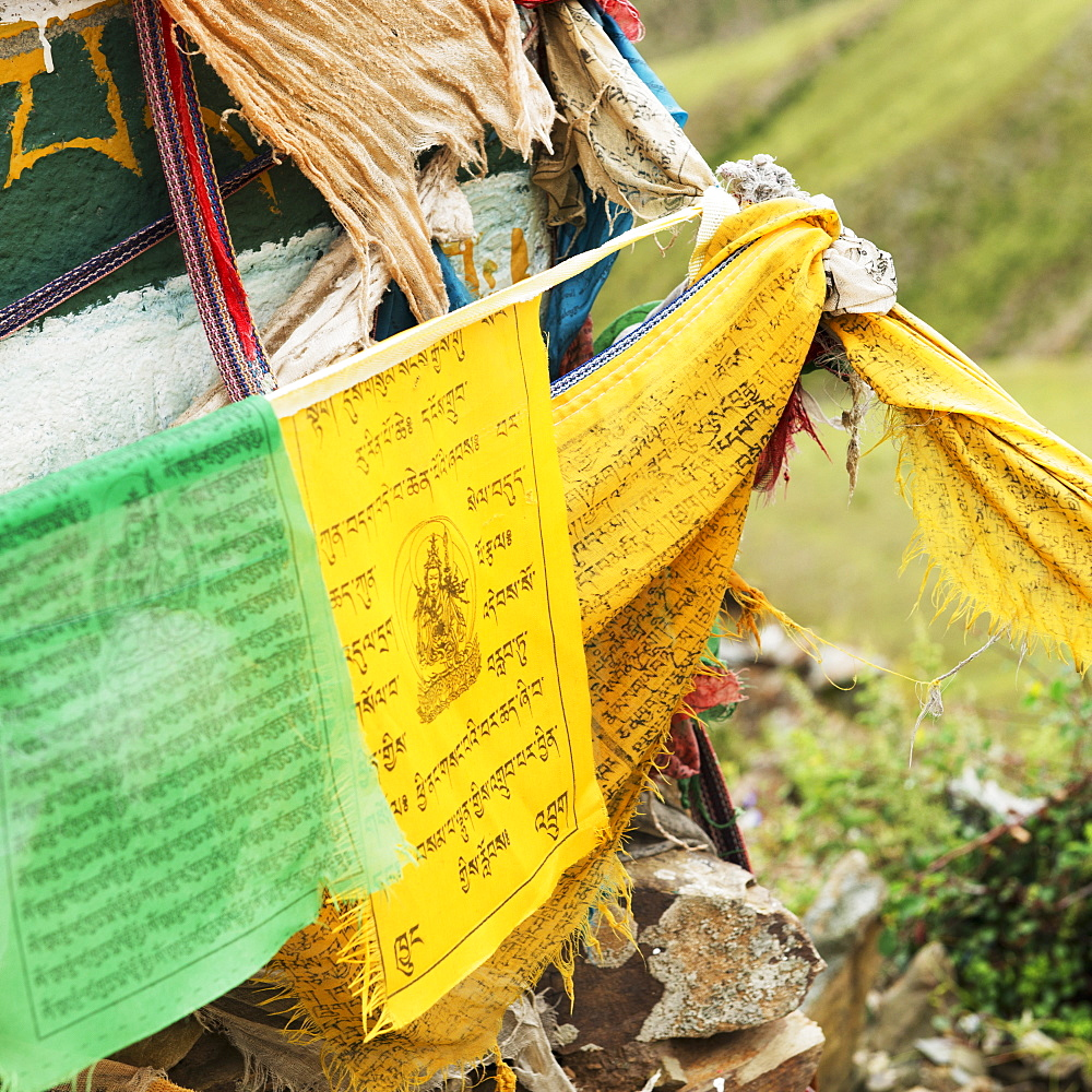 Green and yellow prayer flags, Shannan xizang china