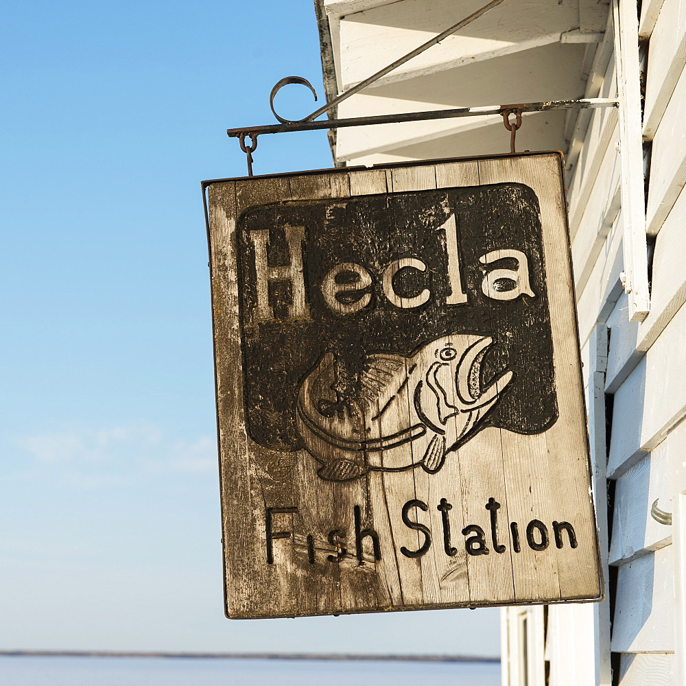 A Sign For Hecla Fish Station, Manitoba, Canada - 1116-42142