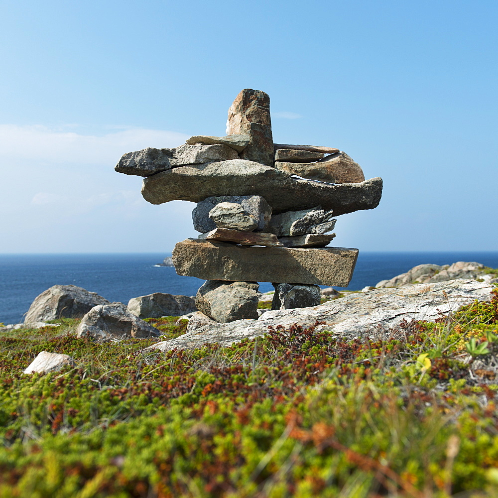 Cairn On The Shore Of The Atlantic Coast, Newfoundland And Labrador, Canada