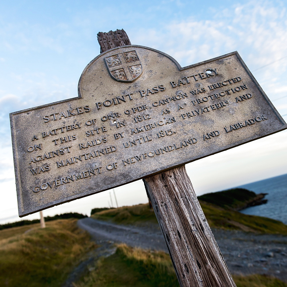 A Sign For Stakes Point Pass Battery, Calvert, Newfoundland And Labrador, Canada