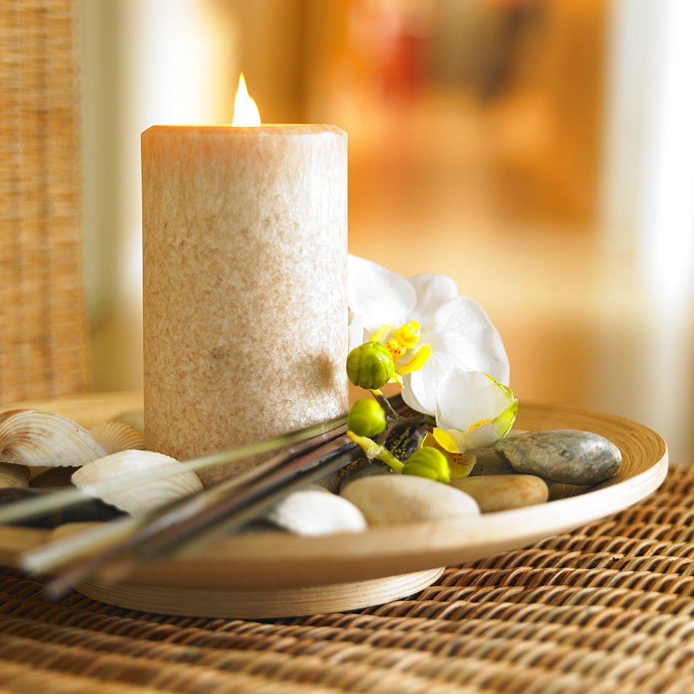 Taupe Pillar Candle On Bamboo Plate With Shells And White Orchid, Victoria British Columbia, Canada