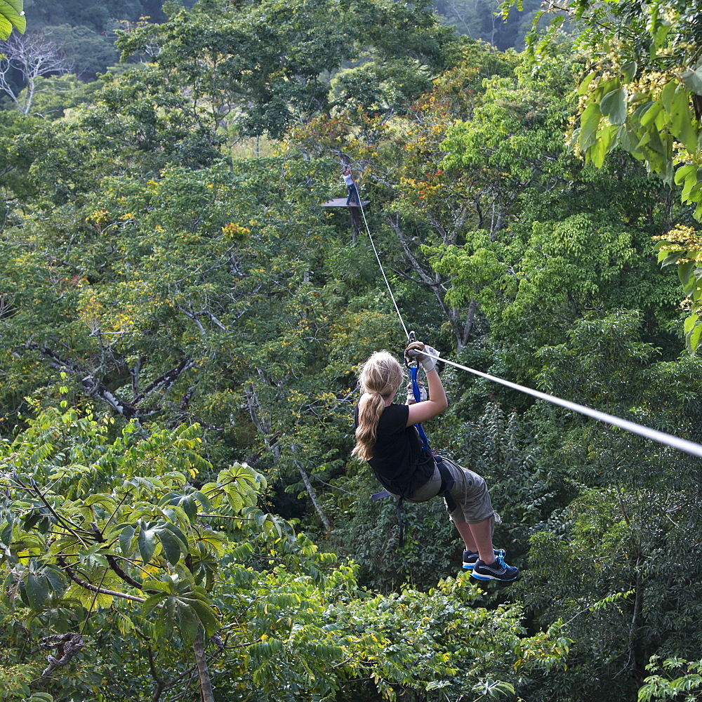 A Girl Riding A Zip Line, Copan, Honduras