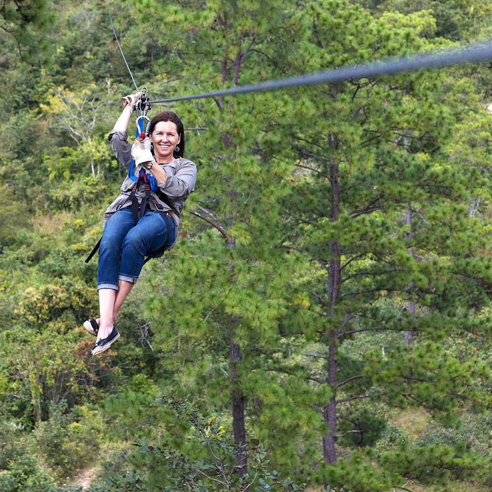 A Woman On A Zip-Line, Copan, Honduras