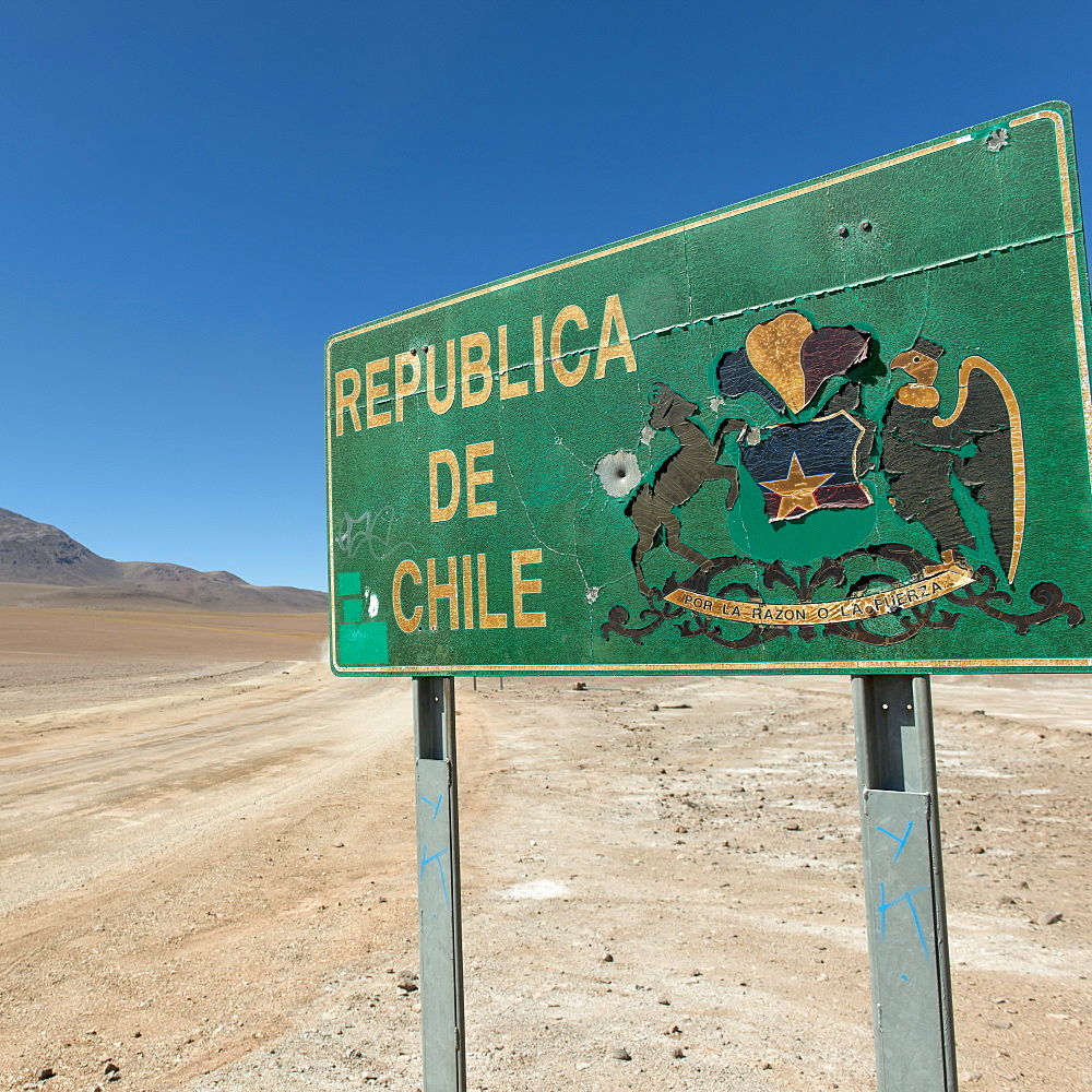 Sign For The Republic Of Chile, San Pedro De Atacama, Antofagasta Region, Chile