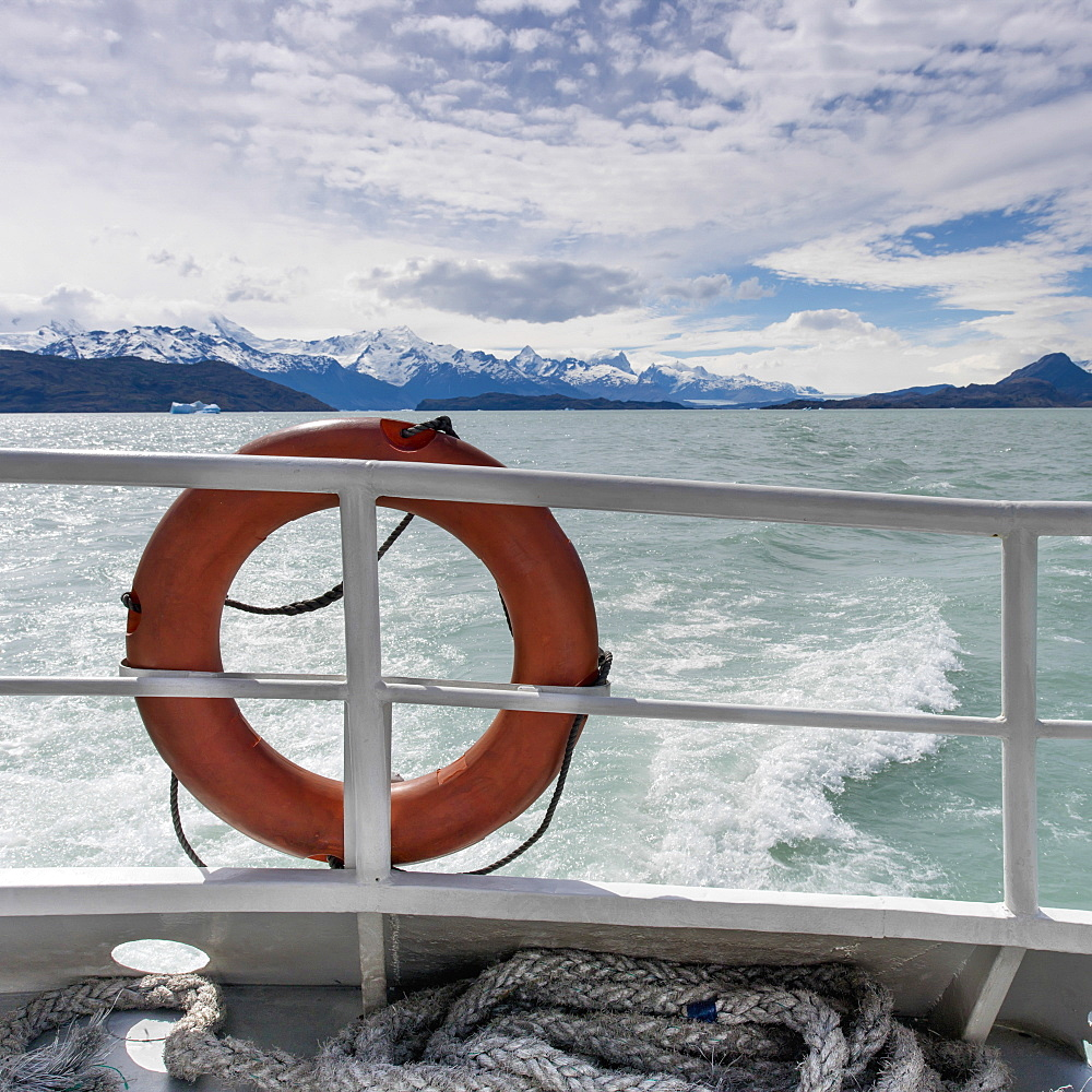 A Life Preserver On The Railing Of A Boat, Patagonia, Chile - 1116-42937