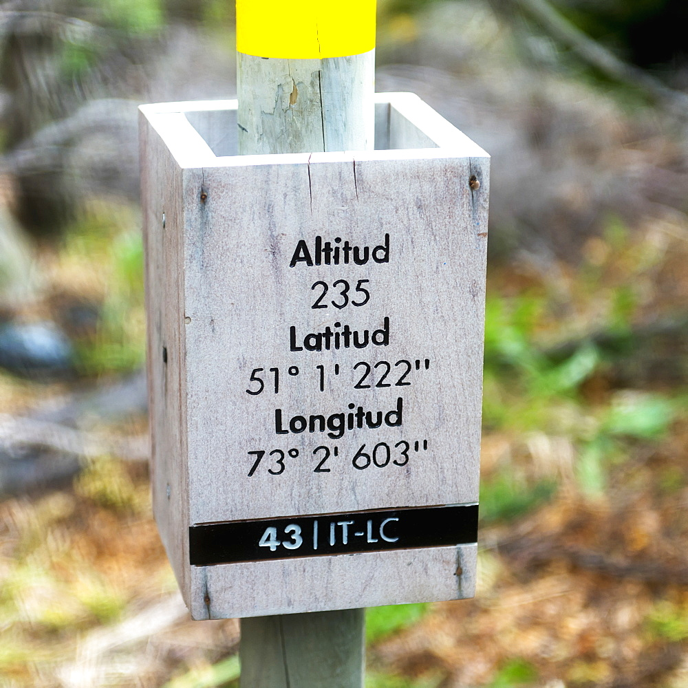 Sign Of Geographic Coordinates, Torres Del Paine National Park, Torres Del Paine, Magallanes And Antartica Chilena Region, Chile