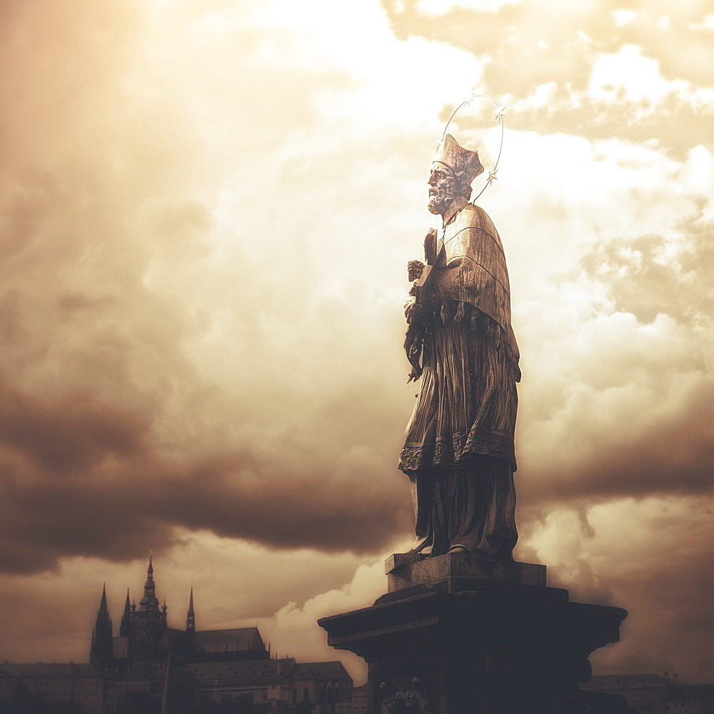 Statue On Karl Bridge, Prague, Czech Republic