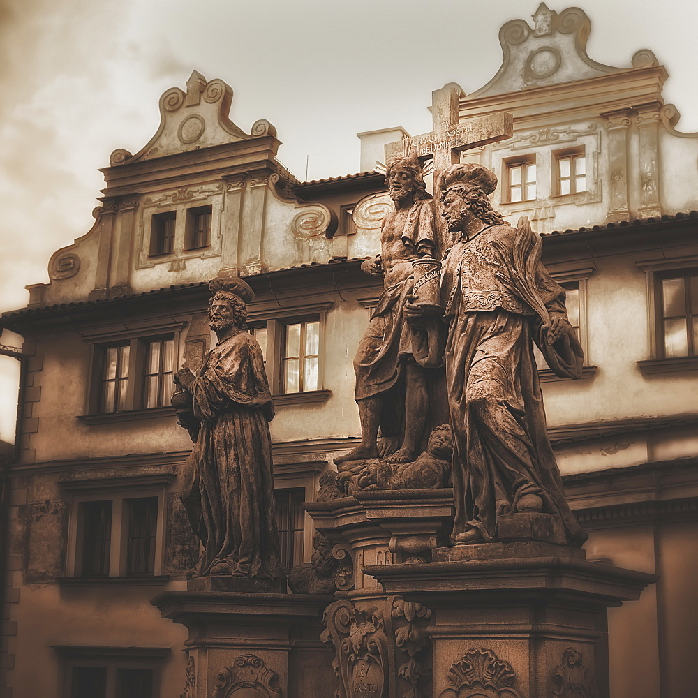 Statues Along The Karl Bridge, Prague, Czech Republic