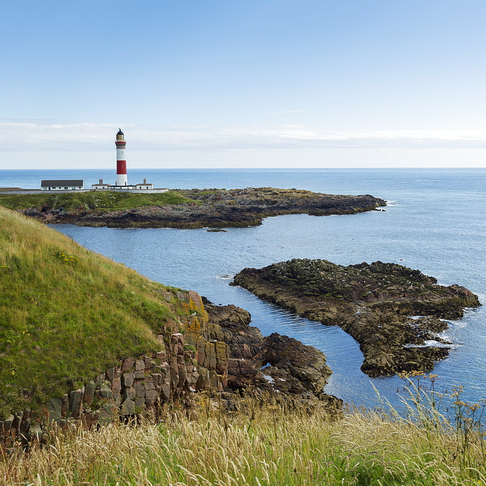 Buchan Ness Lighthouse On Moray Firth Coast, Aberdeenshire, Scotland
