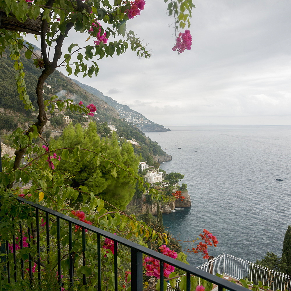 Blossoming Flowers And A Balcony Railing With A View Of The Amalfi Coast, Positano, Campania, Italy