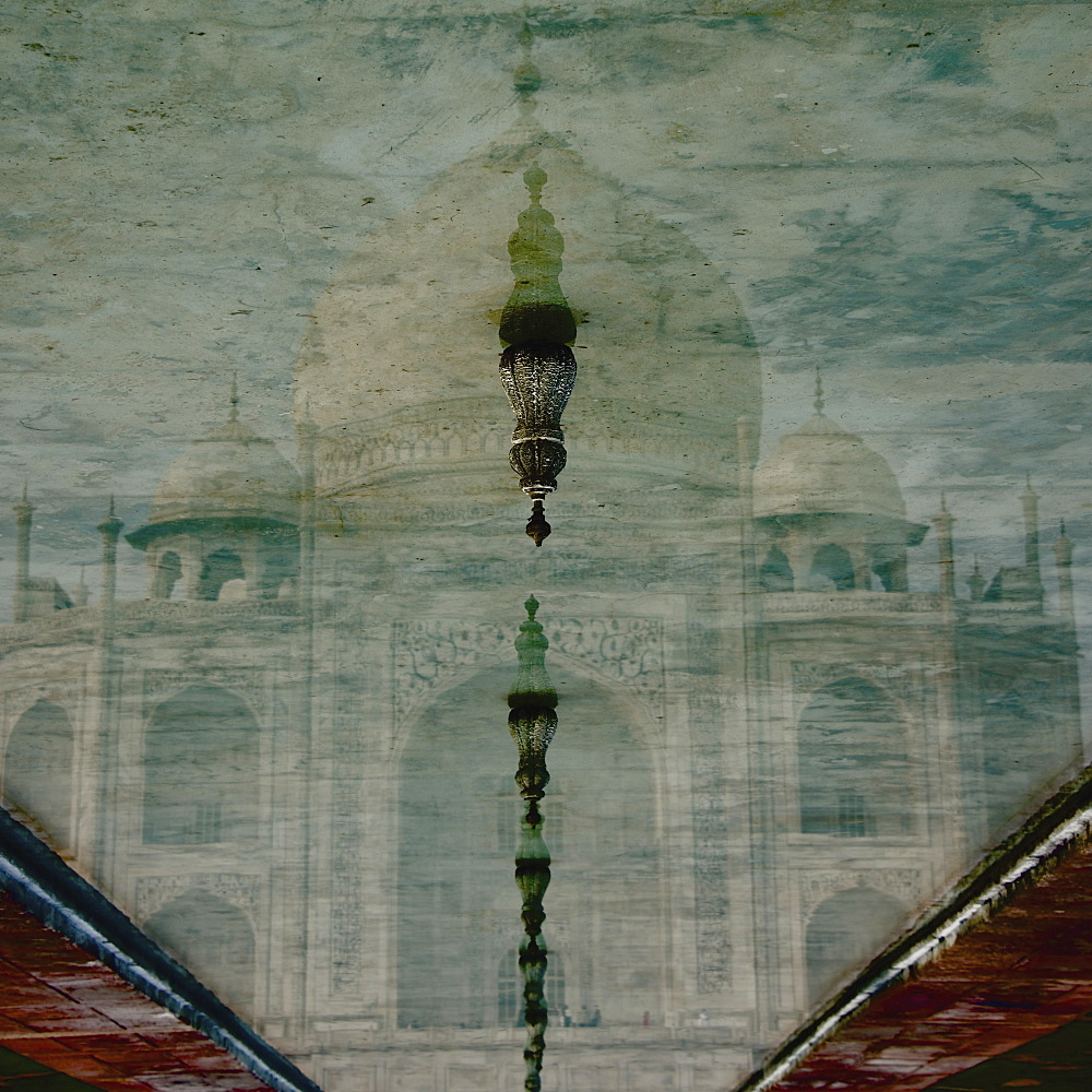 Upside-Down Reflection Of Taj Mahal In A Pool Of Water, Agra, Uttar Pradesh, India