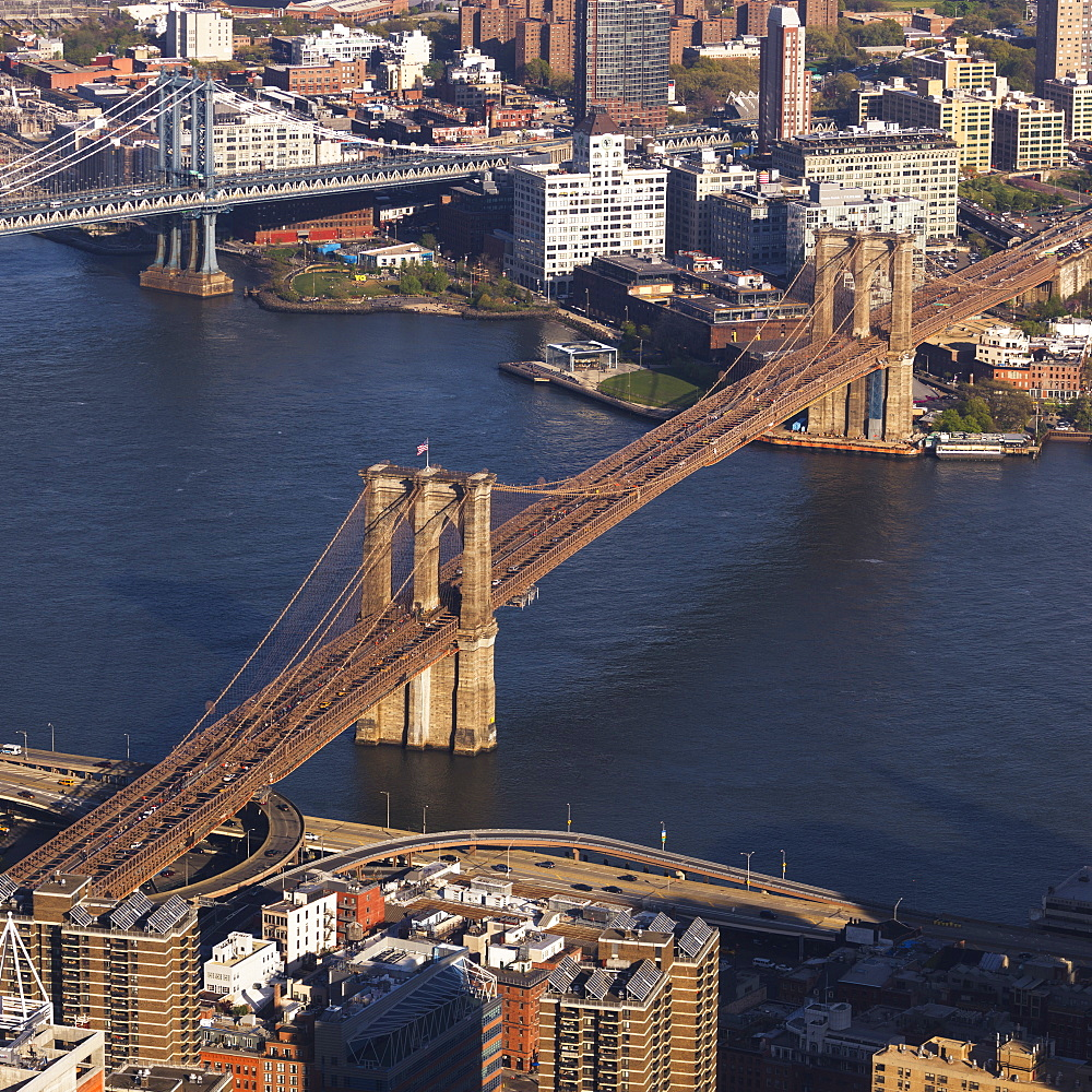Manhattan Bridge And Brooklyn Bridge Crossing The East River, New York City, New York, United States Of America