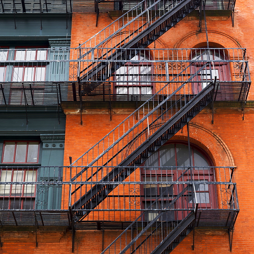 Brick Residential Building With Black Metal Fire Escapes, Soho, Lower Manhattan, New York City, New York, United States Of America