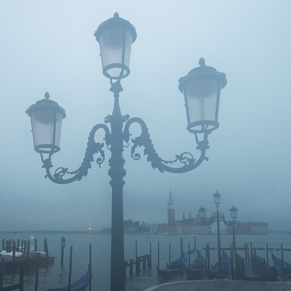 Ornate Lamp Post And San Marco Basin In Fog, Venice, Italy