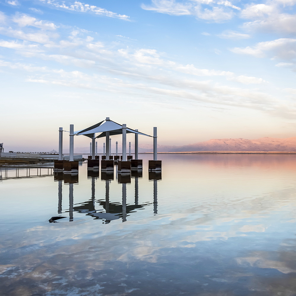 Pillars And An Umbrella Structure In The Dead Sea, South District, Israel