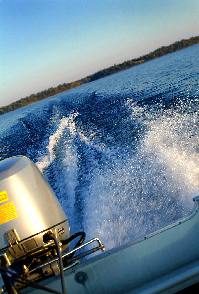 View Off The Back Of A Motor Boat