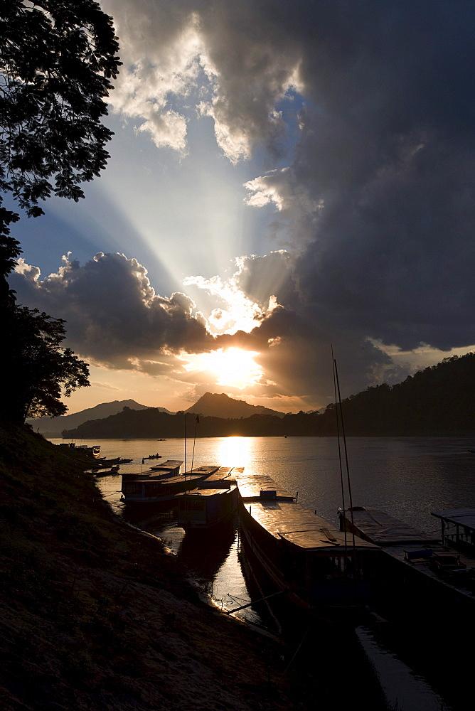 Boats At Sunset, Mekong River, Luang Prabang, Laos, Asia