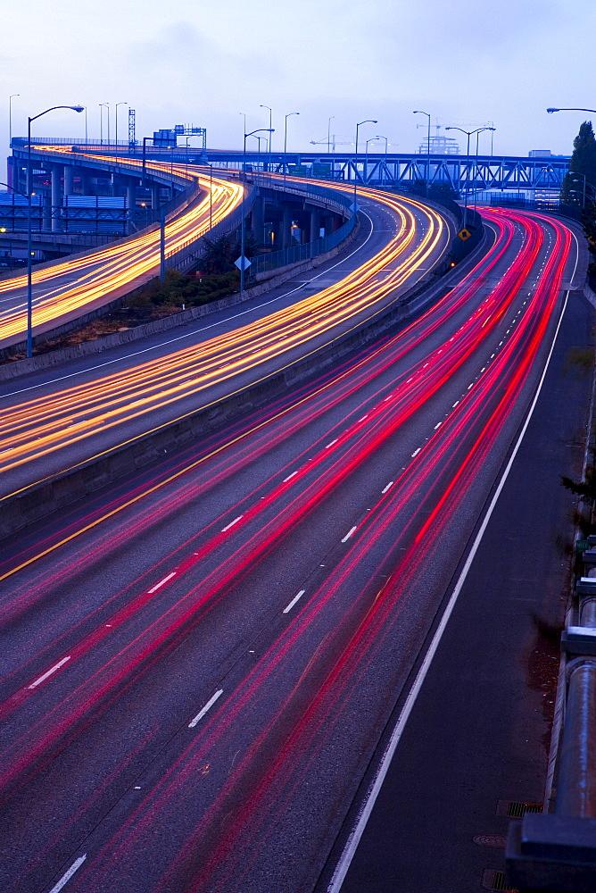 Blurred Traffic On Highway, Portland, Oregon, Usa
