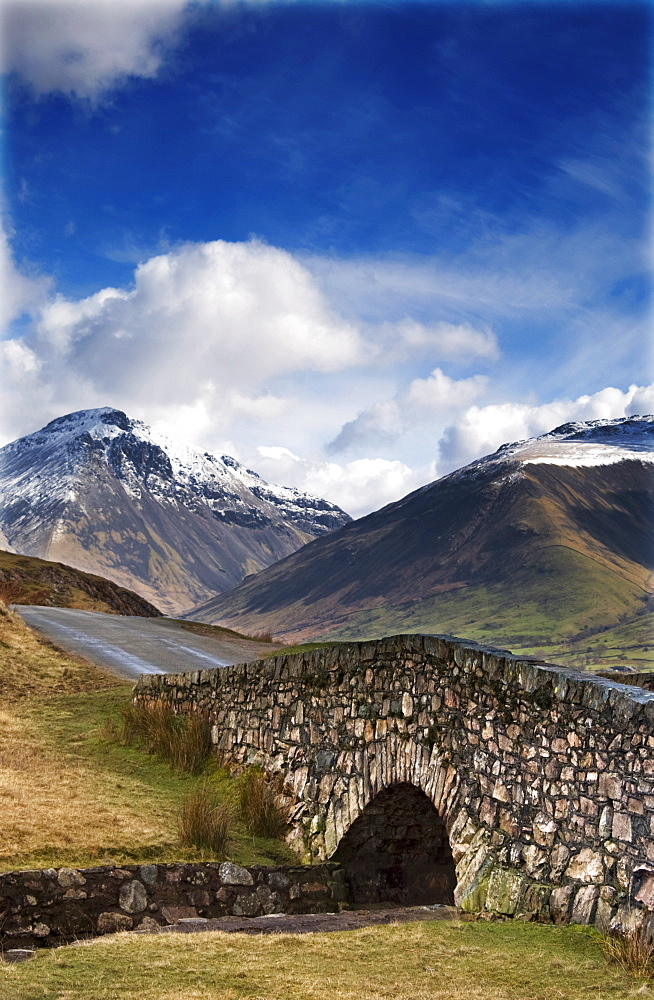 Stone Bridge In Mountain Landscape, Lake District, Cumbria, England, United Kingdom