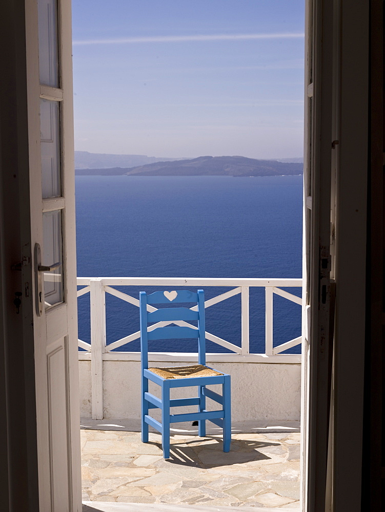 Chair On Patio, Santorini, Greece