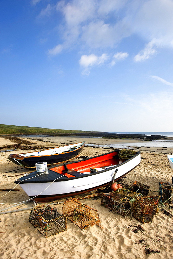 Northumberland, England, Fishing Boats And Nets On Shore