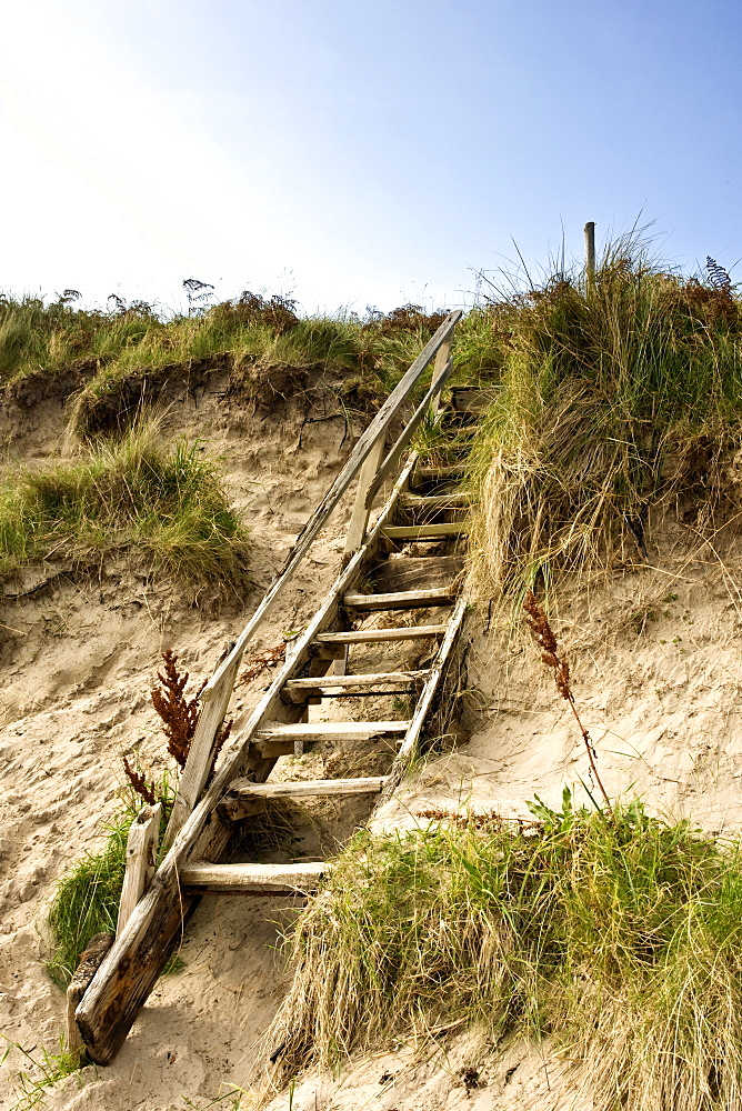 Northumberland, England, Steps Leading Up A Sand Dune