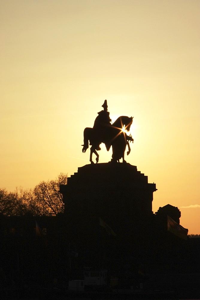 Silhouette Of Statue Of Kaiser Wilhelm I, Koblenz, Rheinland Pfalz, Germany